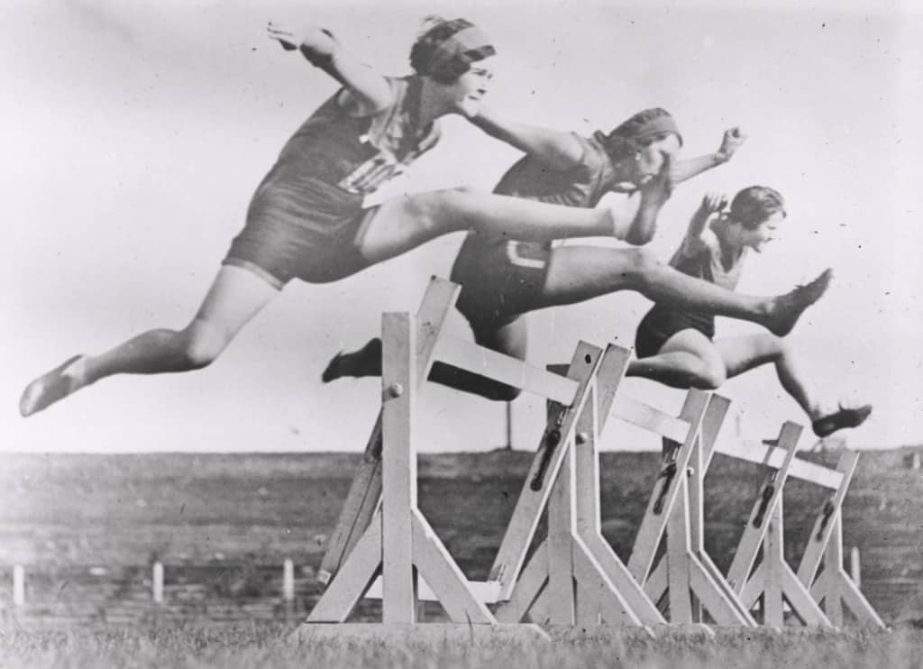 Women's hurdles race taking place at Sydney Sports Ground, New South Wales, March 1931.