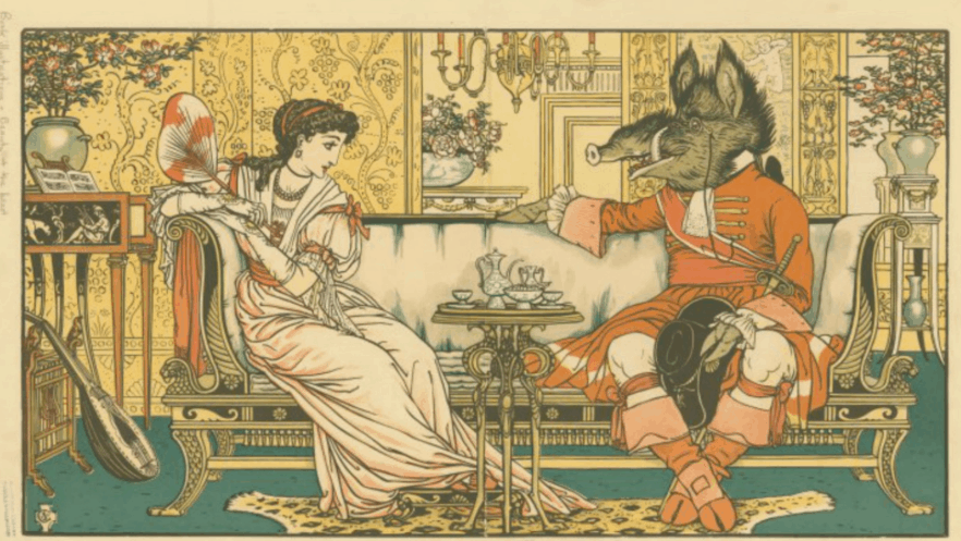 """""""At last he turned to her and said, 'Am I so very ugly?'"""" Wood engraving by Walter Crane, 1896. Via the New York Public Library's digital collections."""