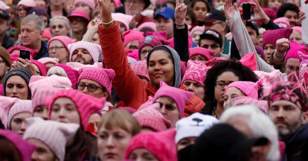 "People wearing ""pussyhats"" gather for the Women's March in Washington, D.C., January 21, 2017.  CREDIT: REUTERS/Shannon Stapleton"